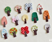 The set of 3 little tree brooches