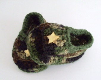 Baby Boy Sandals, Camouflage Summer Shoes, Crochet Sandals