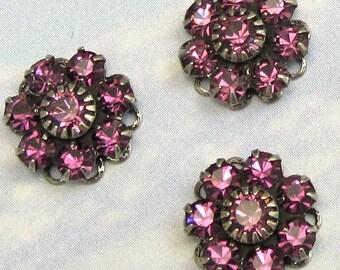 Purple Rhinestone Bead Swarovski Crystal amethyst rhinestone flower in antique silver setting