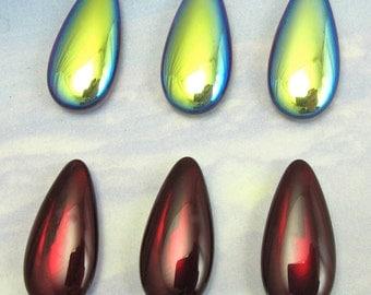 Vintage Glass Teardrops 4 pcs 24x12 Red AB  iridescent Drops Stones Cabochon S-313