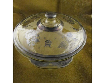 Vintage Fire King 2 Quart Covered Casserole - Georges Briand Persian Garden - Eames Retro Period
