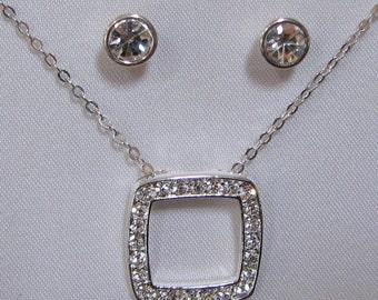 Vintage Square Rhinestone Pendant Necklace Earring Set 6230 Free Shipping