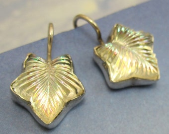 Sterling Silver Leaf Earrings Clear Iridescent Vintage Glass Art Deco 576