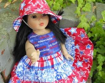 18in.  American Girl Bitty Baby  Doll Red White and Blue  Patriotic Stars  4th of July Dress with Twirlskirt