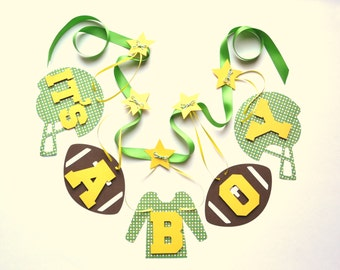 Football baby shower decorations green and yellow it's a boy banner by ParkersPrints on Etsy