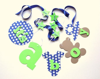 Baby shower banner decorations blue and green it's a boy banner by ParkersPrints on Etsy