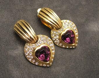 Purple Rhinestone Heart Earrings