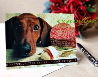 Cute Pitter Patter Dachshund Valentines Day  Card