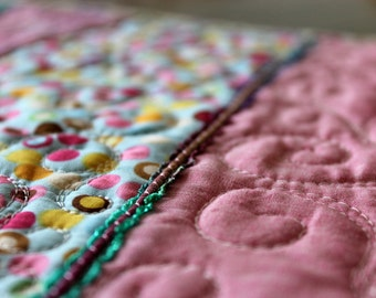 MarveLes BUTTON UP and QUILTED in Pink and Aqua Table Runner button trim ribbon Easter Mother's Day Pastel Graduation