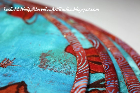 MarveLes SET of FOUR Round Quilted PLACEMATS, Laura Gunn Michael Miller fabric turquoise rust orange