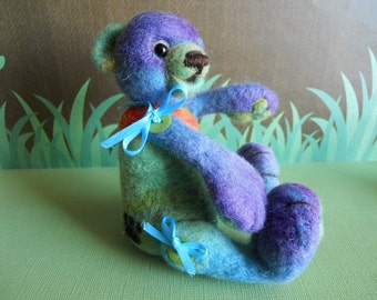 Needle Felted Miniature Teddy Bear - Buttons and Bows Series No. 3