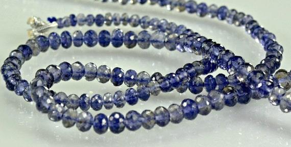 Iolite Rondelles AAA  Micro Faceted Iolite Gemstone Beads Rondels  2.75-5mm