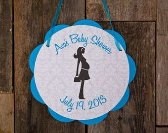 Baby Shower Door Sign - Baby Shower Decorations - Welcome Sign in Aqua Blue & Black Damask