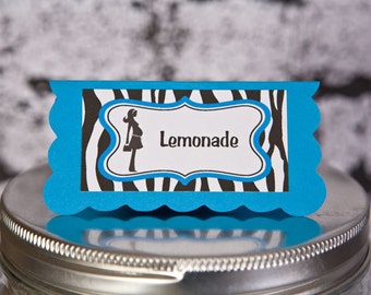 Baby Shower Food Tents - Mom to Be Theme Food Labels - Menu Cards - Place Cards - Baby Shower Decorations - Aqua Blue & Zebra (6)