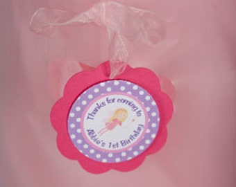 Fairy Birthday Party - FAVOR TAGS - Fairy Hot Pink and Purple Happy Birthday Party Decorations (12)