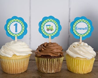 Train Theme Cupcake Toppers - Train Birthday Party Decorations in Blue and Green (12)