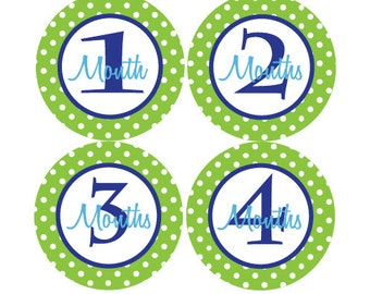 Baby Month Stickers Boy Baby Monthly Milestone Stickers Blue Green Polka Dot First Year Stickers - Abe-T
