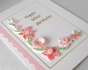 Quilled 90th birthday card, handmade, quilling
