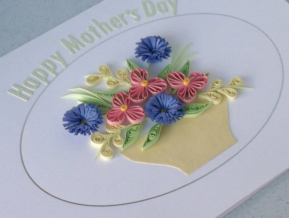 Quilled mother's day card with quilling flowers