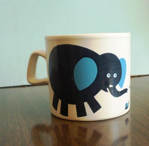 Staffordshire Potteries Elephant Graphic 70s Mug Collectible