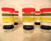 Vintage Glass Set, Six Matching juice glasses, Fab 50's juice glasses