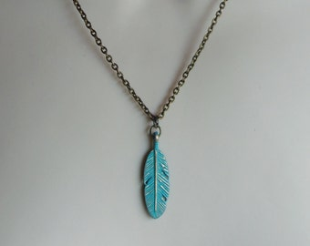 Verdigris Feather Necklace. Turquoise Necklace. Nature Inspired Jewelry. Vintage Inspired Necklace. Stylish Jewelry. Celebrity Style
