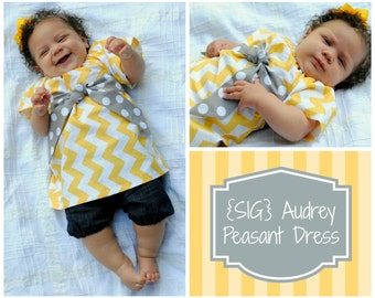 INSTANT Download SIG Audrey Peasant Dress with Sash Pattern eBook - size 0-3 month to 2T, Baby and Toddler