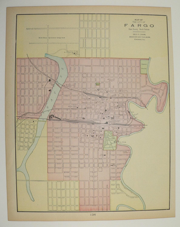 Vintage Map Of Fargo North Dakota And St Paul Minnesota Map