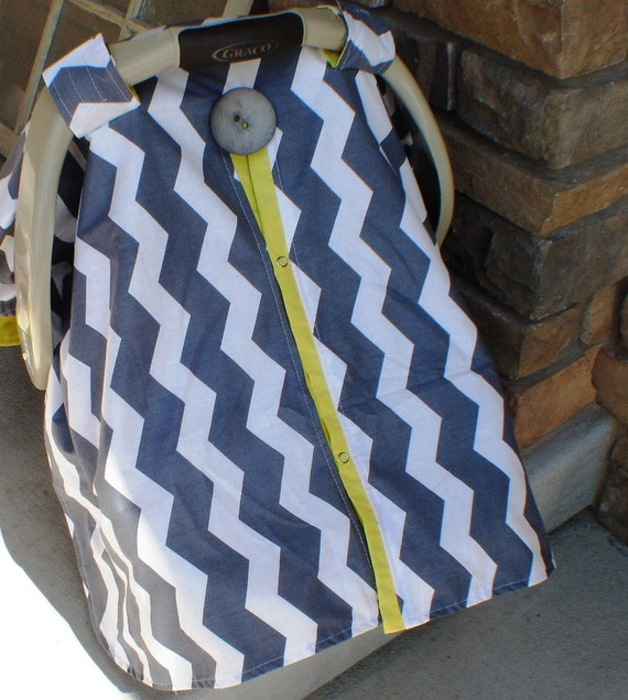 Car seat canopy Grey chevron strip and Yellow