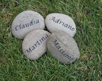Personalized Gift Garden Stone Family Engraved Stone 3-4 Inch Garden Stones
