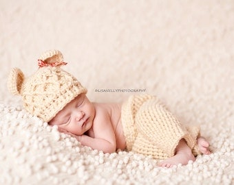 Newborn Bear Hat and Pant set, Crochet Baby Pants, Pant Set Photography Prop, Teddy Bear Hat and Pants, Crochet Bear Hat,