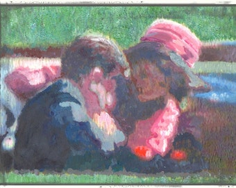 "JFK, on canvas painting, art, Kennedy & Jackie,"" The Second Shot""  print from original painting, president Kennedy, 1960's history art,"