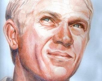 Steve McQueen, portrait, print from original drawing/watercolor illustration, portrait painting, portrait art