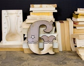 Retro Carnival Style Wood Letter G Gray and White - EdiesLab