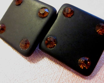 Vintage Clip On Earrings - Black Squares With Orange Rhinestones - Dice