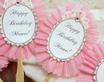 Girly Frills. Twelve Pink Ruffled Cupcake or Appetizer Toppers with Personalized Wording