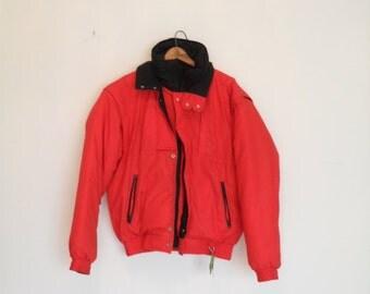 vintage 80s slouchy colorblock  down filled ski jacket large