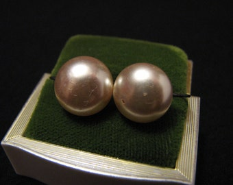 Antique Sterling Silver and Glass Pearl Screwback Earrings