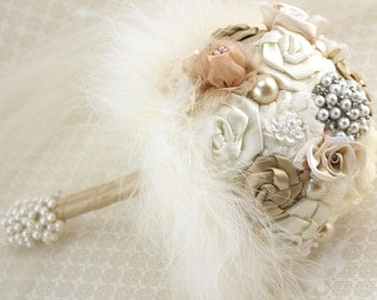 Brooch Bouquet, Champagne, Tan, Cream, Ivory, Bridesmaids, Maid of Honor, Simple, Feathers, Crystals, Pearls, Vintage Wedding