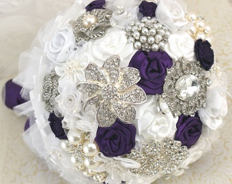 Brooch Bouquet, Plum, Purple, White, Silver, Vintage Wedding, Bridal Bouquet, Elegant, Wedding Bouquet, Jeweled, Lace Bouquet, Gatsby,Pearls