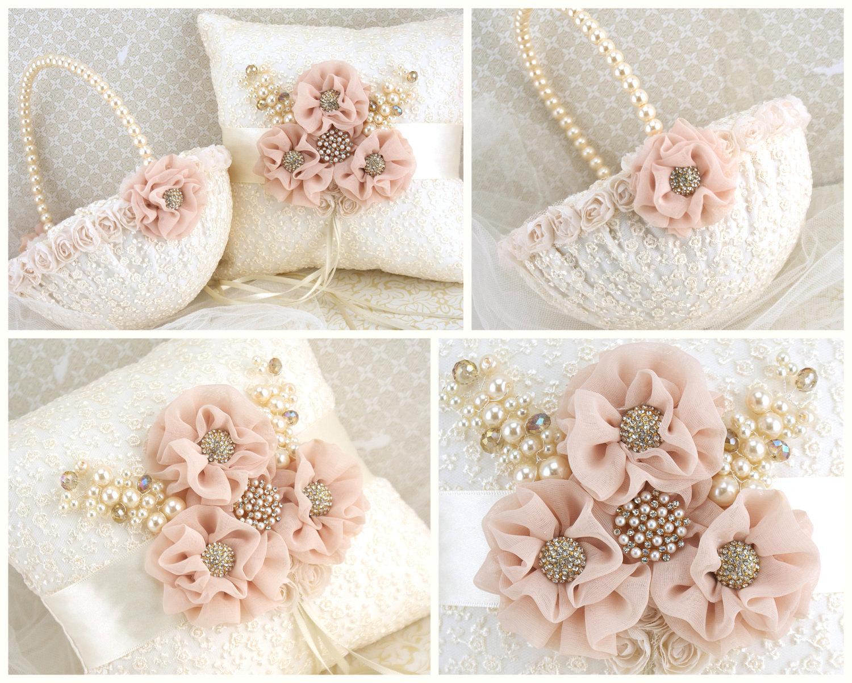 Ring Bearer Pillow Flower Girl Basket Ivory Cream Gold