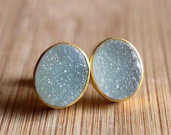 Soft Gray Blue Druzy Oval Gold Stud Earrings -  Stud Earrings