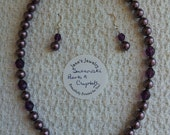 Burgundy Swarovski Pearls with Purple Amethyst Crystals.  Perfect for Gift-giving.