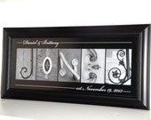 Alphabet Photography Letter- Personalized Alphabet Photo Letter Art 10x20- Black and White- UNFRAMED Name- Wedding
