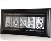 Alphabet Photography Letter- Personalized Alphabet Photo Letter Art 10x20- Black and White- UNFRAMED Name- Wedding