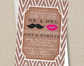 Wedding Couples Shower Invitation - Mustache & Lips - Mr. and Mrs. - Chevron Digital Printable File