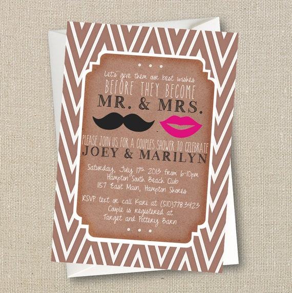 Wedding Couples Shower Invitation Mustache Lips Mr and – Vintage Engagement Party Invitations
