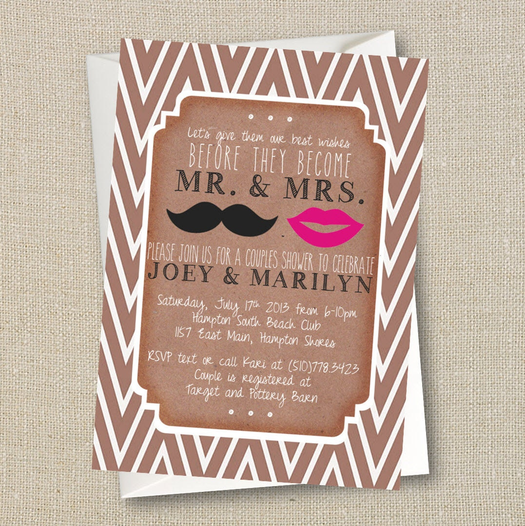 Wedding Couples Shower Invitation Mustache Lips Mr and – Couples Shower Wedding Invitations