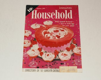 Vintage Household Magazine  January 1957- 10 Cent Cover Price - Art - Cool Retro Vintage Ads