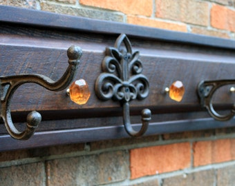 "Coat Rack, Rustic Contemporary, Reclaimed Wood, Brown & Black Finish, 46"" x 8"" - Handmade"